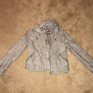 Grey Leather Jacket with Retractable Hood